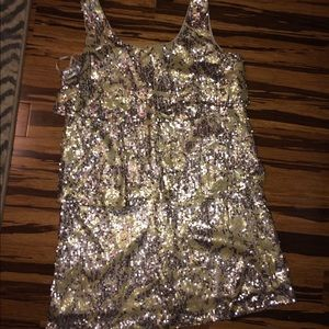 Tiered Gold Sequin Dress